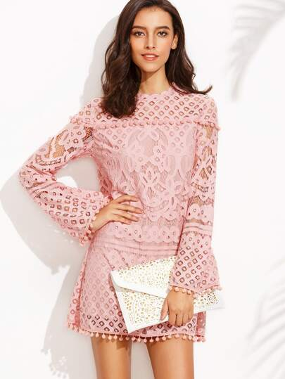 Pink Crochet Pom-pom Trim Long Sleeve Dress