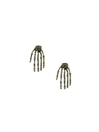 Antique Bronze Skeleton Hand Ear Studs