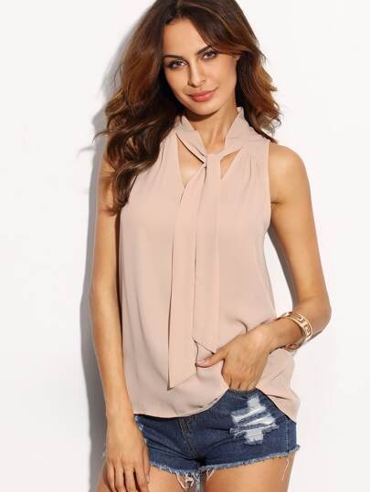 Light Pink Tie Neck Top