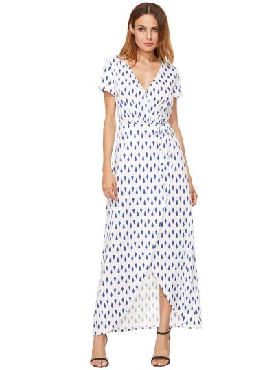 Голубой Белый печати Сплит длинное платье