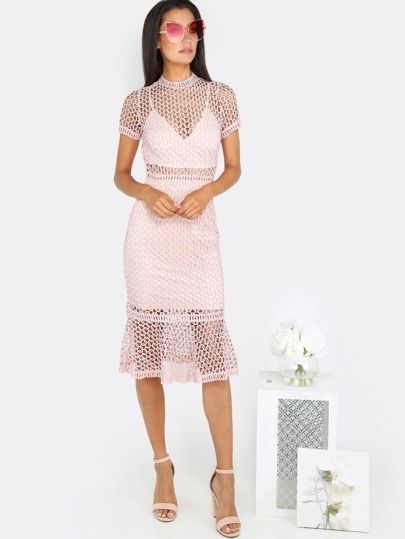Crochet Mesh Flare Dress BLUSH