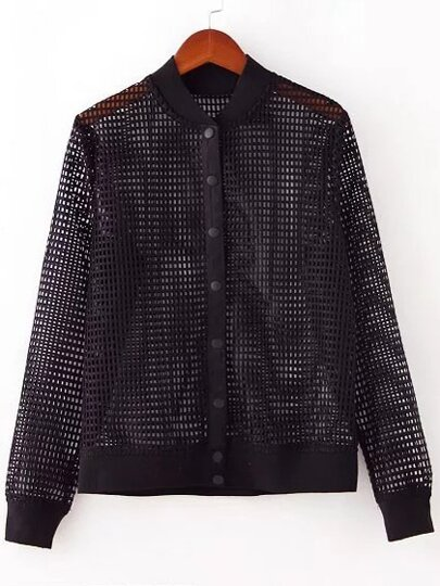 Black Button Front Hollow Jacket