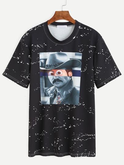 Black Funny Graphic Print T-shirt