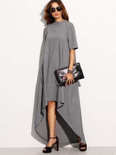 فستان رمادي عالي الياقة بأطوال مختلفة