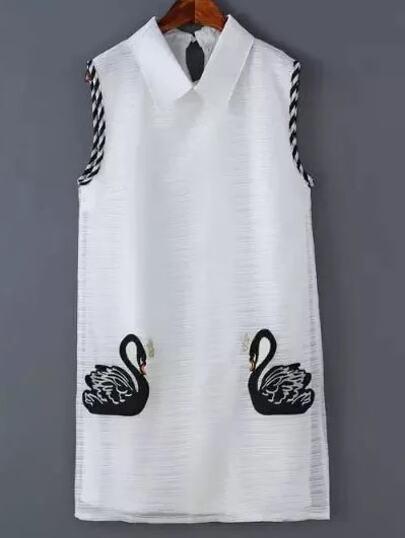 White Peter Pan Collar Swan Printed Dress