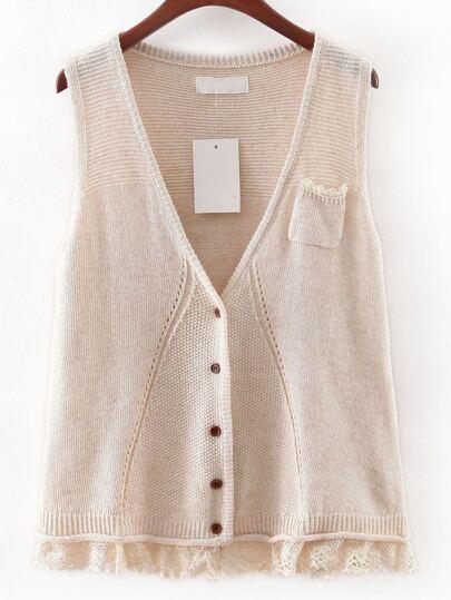 Apricot V Neck Crochet Hem Button Sweater Vest