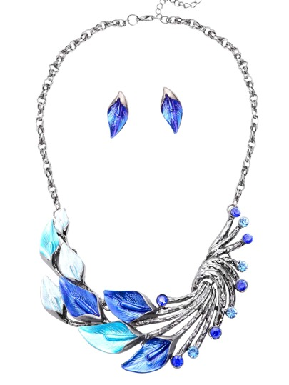 Blue Peacock Tail Shaped Statement Necklace With Ear Studs