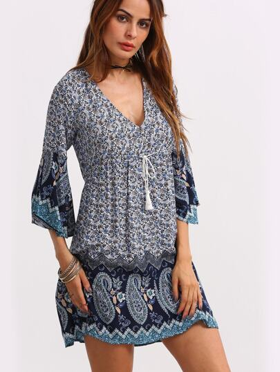 Double V-Neck Bell Sleeve Multicolor Paisley Print Dress