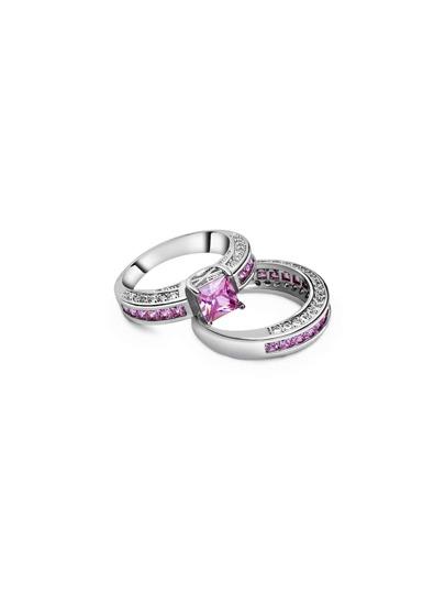 2PCS Ring Set Strass verschönert-rosa