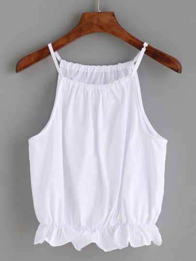 White Peplum Cami Top
