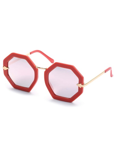Pink Hexagon Frame Sunglasses
