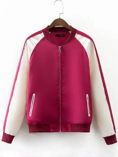 Rose Red Letters Embroidery Zipper Pocket Jacket