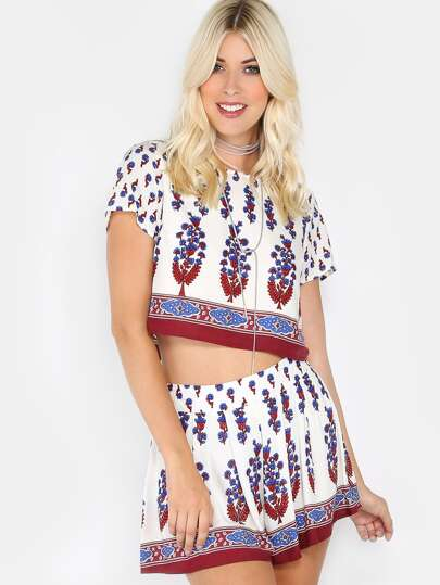 Short Sleeve Printed Co-Ord Set IVORY MULTI
