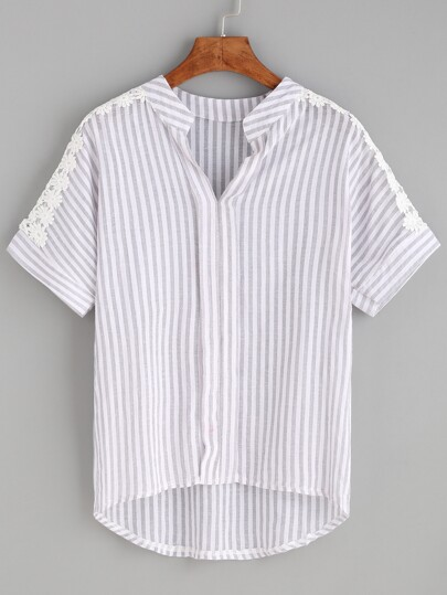 Grey Striped Notch Neck Appliques Dip Hem Blouse
