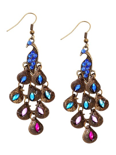 Royal Blue Peacock National Style Drop Earrings