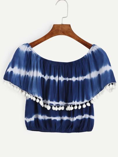 Bluse mit Batik und Bommel Saum - marineblau
