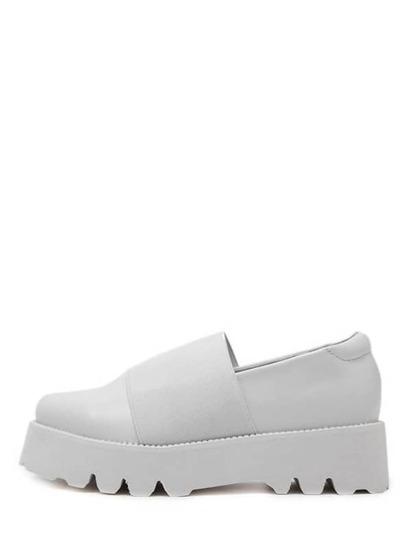 White Faux Leather Slip On Elastic Flatform Shoes