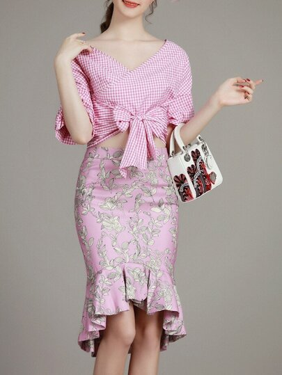 Pink V Neck Bowknot Check Top With Ruffle Skirt
