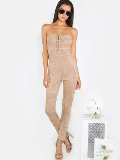 Lace Up Suede Jumpsuit BEIGE