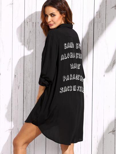 Black Letter Print Shirt Dress