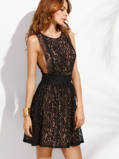 Black Sexy Cut Out Lace A Line Dress