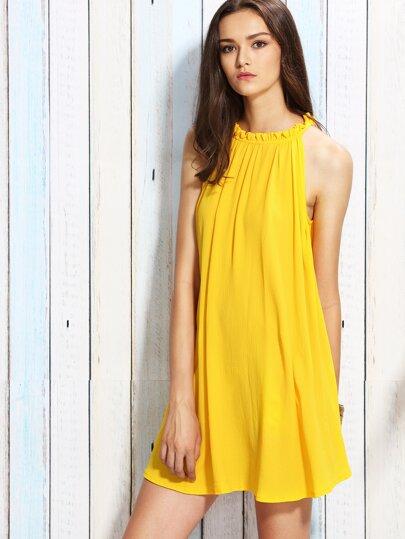 Yellow Ruffle Collar Tie Back Shift Dress