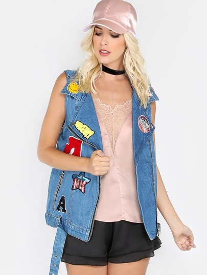 Chunky Patched Up Denim Vest DENIM