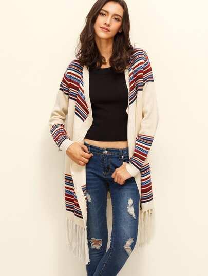 Multicolor Stripe Tassel Hem Knitted Outerwear