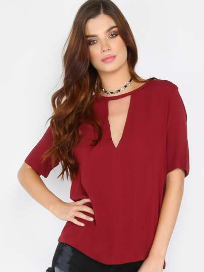 Short Sleeve Cut Out Top WINE