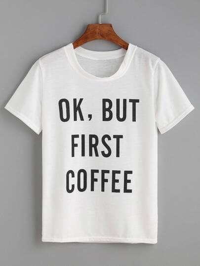 Ivory Sentence Print T-shirt