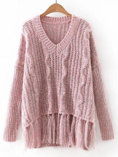 Pink V Neck Tassel Knitwear