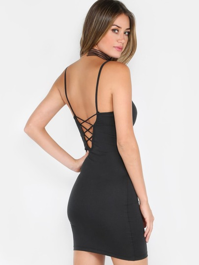 Strappy Spaghetti Strap Dress BLACK