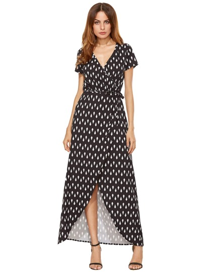 Geo Print Dip Hem Wrap Dress