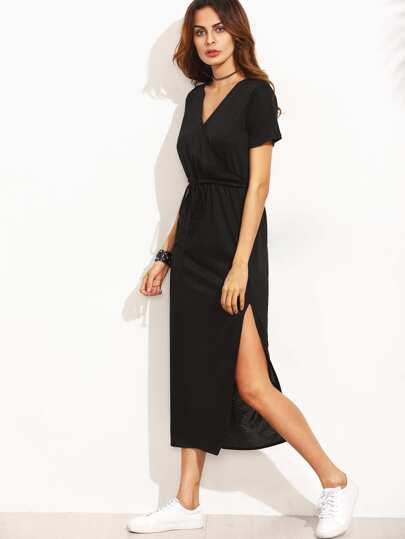 Black Surplice Front Drawstring Waist Slit Midi Dress