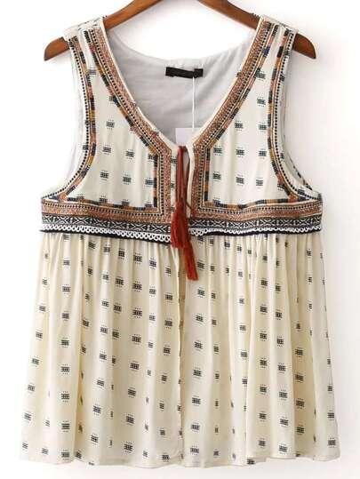 Beige Embroidery Tie Neck Vest