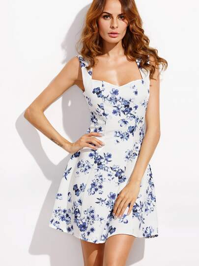 Floral Print Sweetheart Neck Circle Dress