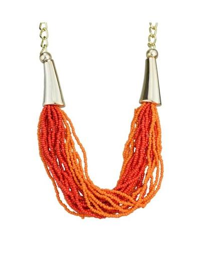 Orange Beads Women Necklace