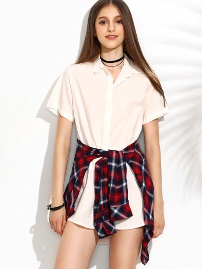 White Button Front High Low Shirt Dress