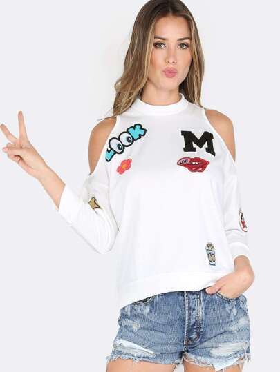 Patch Cut Out Fleece Sweater WHITE