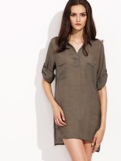 Coffee Half Placket Roll Tab Sleeve Shirt Dress