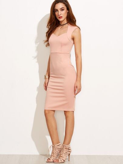Pink Cap Sleeve Sheath Dress