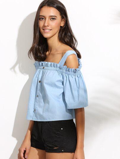 Blue Cold Shoulder Buttons Crop Blouse