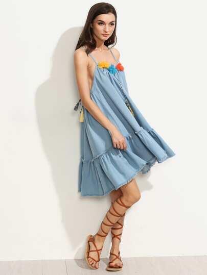 Blue Tassel Tie Back Raw Hem Spaghetti Strap Dress