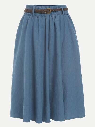 Blue Belted A Line Denim Skirt