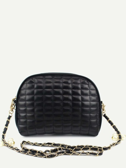 Black Quilted Dome Bag With Chain