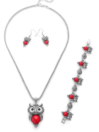Silver Plated Red Owl Turquoise Jewelry Set