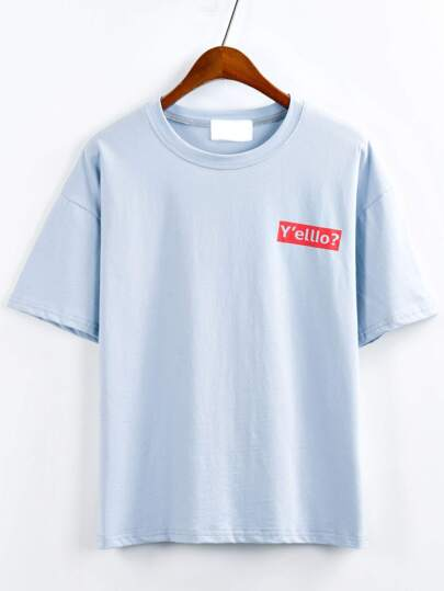 Blue Graphic Print Drop Shoulder T-shirt