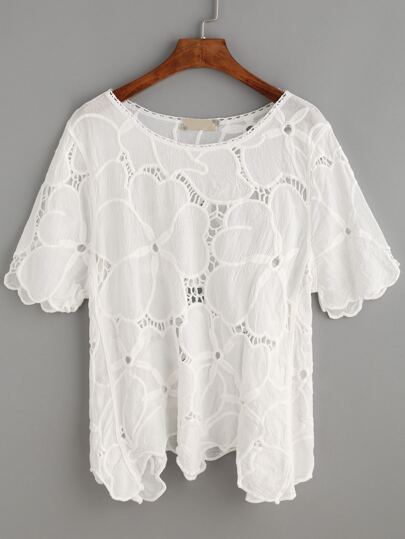 White Scalloped Floral Hollow Out Blouse