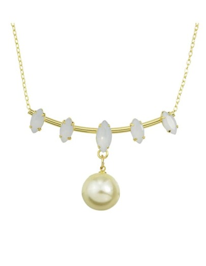White Enamel Hanging Pearl Necklace