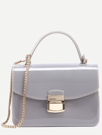 Light Grey Pushlock Closure Plastic Handbag With Chain